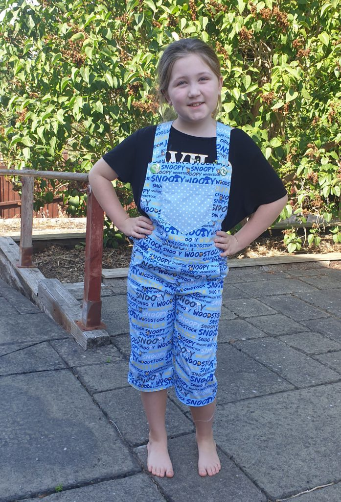 I Dig Dungarees - pattern by Jack's Mum in Snoopy fabric